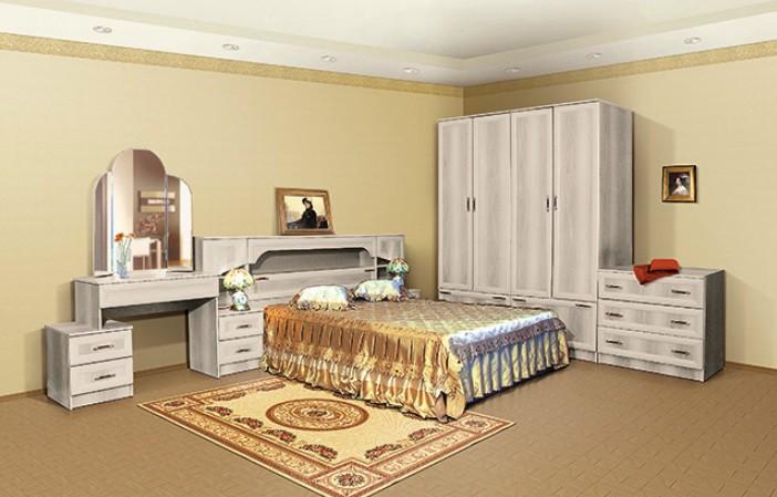 Кровать с прикроватным блоком без матраца (1460х1016х2250 мм). Состав набо